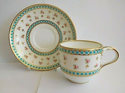 Mid 19Th Century Minton Tea Cup And Saucer With Jeweling And Pink Roses