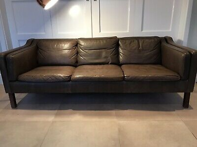 Vintage Retro Danish Mid Century Brown Leather Sofa Three Seater 1960s