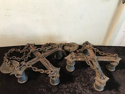 Old Heavy Iron Gothic Looking 4-Socket Chandelier Lights (Pair)
