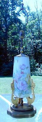 Scarce Antique W Guerin French Limoges Porcelain Table Lamp Yellow Pink Roses