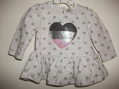Petit Lem Baby Girls Grey Spotted Long Sleeved Glitter Heart Top - Age 3 Months