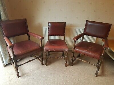 3 Antique Oak Red Leather Studded Dining Chairs -a pair of carvers and one other