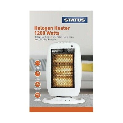 Status Oscillating Halogen Heater -1200w - White - 3 Heat Settings
