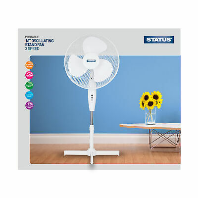 "Status 16"" White Stand Fan - Oscillating - 3 Speed Settings"