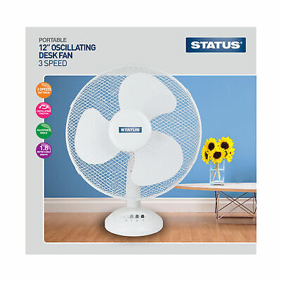 "Status 12"" White Desk Fan - Oscillating - 3 Speed Settings"