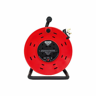 Status Extension Reel 50 Mtr - 13 amp 4 Socket Outlet with Thermal Cut Out - Red