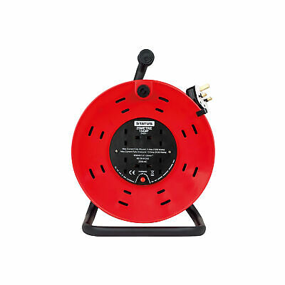 Status Extension Reel 25 Mtr - 13 amp 4 Socket Outlet with Thermal Cut Out - Red
