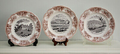 A Fine Set of 10 Antique Guyon de Boulen Plates Assiettes, Country Houses, 1844