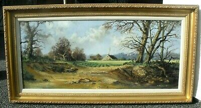 Philip Stanton - Oil Painting - Riverbank Landscape with a Cottage. Welsh Art.