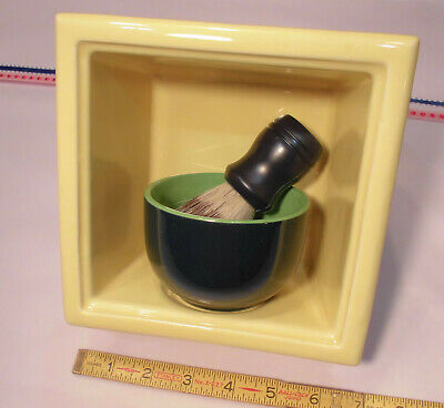Vintage *Canary Yellow* Ceramic Recessed Shaving Niche with soap dish;  NOS