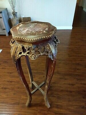 Antique 1870's Chinese Ming Qing Dynasty Handcrafted Marble Top Stand Table RARE