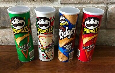 Empty Pringles Can Lot of 4 6 3/4 Oz Cans with Lids Nuts, Bolts, Buttons, Crafts
