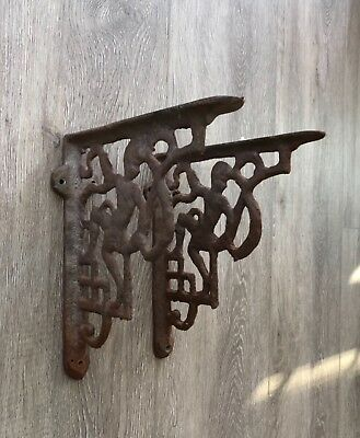 """Early Antique Cast Iron Brackets 9"""" x 10"""""""