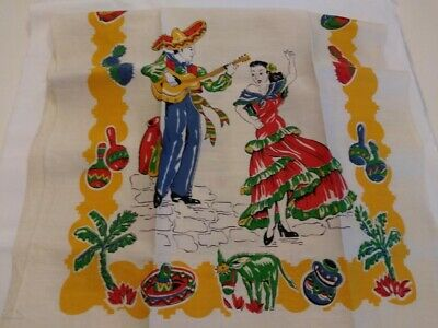 Vintage Mexican Decor Kitchen Linen Towel!  Colorful Dancers Burros, Pottery