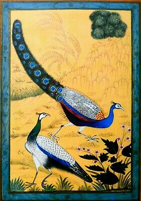 Late 18Th C Antique Mughal (India) Opaque W/C Painting 2 Peacocks, Matted/Framed