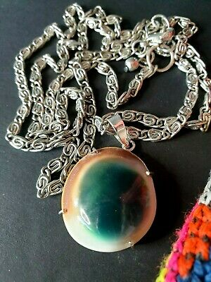 Vintage Operculum Shell Cat Eye Necklace on Silver Chain …beautiful collection &