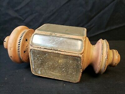 antique Buggy Carriage Automobile side lamp electric lantern beveled glass brass