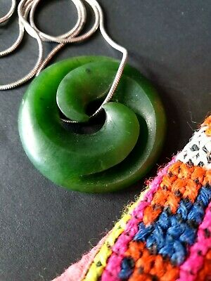 Old New Zealand Greenstone Pendant on Silver Chain  …beautiful New Zealand colle