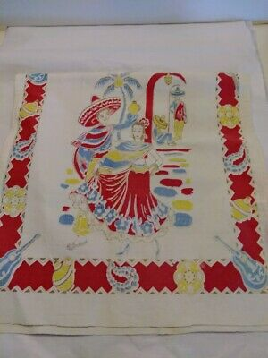 Vintage Mexican Decor Kitchen Linen Towel!  Colorful Mexican Themed!