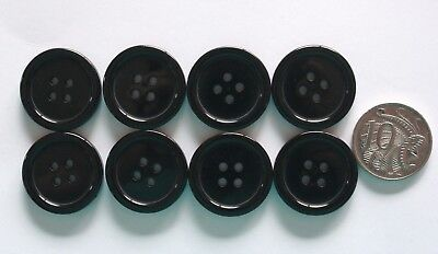 25mm Ridged Buttons - 8 x Black Matching - Sewing Scrapbooking Patchwork