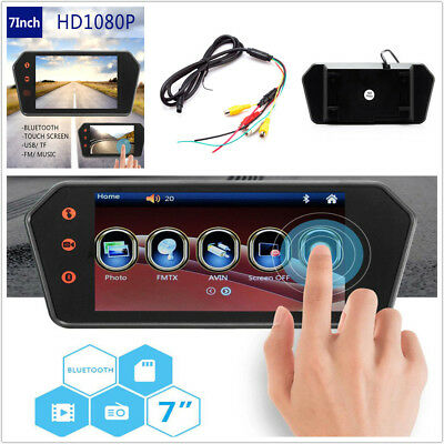 "Car 7"" Touch Screen Rearview Mirror Monitor Contact Bluetooth Built -in FM MP5"