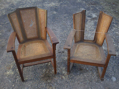 Pair Rare Limbert Art and Crafts Mission Wingback Chairs Survivors Parts/Repair