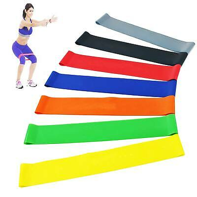 Set of 7 Resistance Exercise Loop Bands Home Yoga Gym Fitness Legs Natural Latex