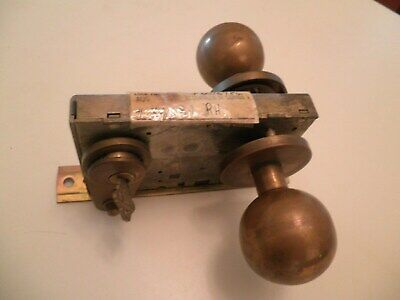 Vintage Door Knobs Handles Brass with Cover and Lock Old Antique