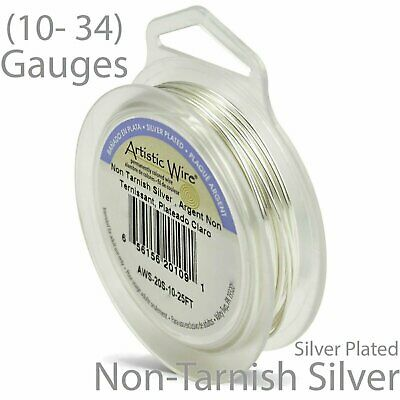 Silver Plate non-Tarnish Artistic Wire - Silver Plated Round Craft Wire