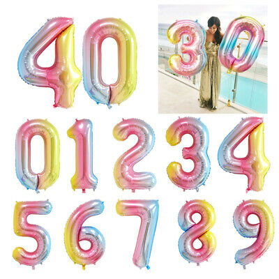 Shower Party Supplies Helium Inflatable Toys Gradient Color Number Foil Balloon