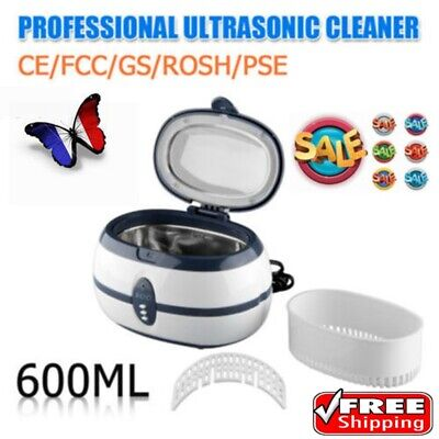 Floureon 600ML Ultrasonic Cleaner Timer Auto-off Cleaning Jewelery Glasses FR