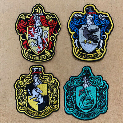 1x Patch Potter Slytherin Hufflepuff Ravenclaw Gryffindor Embroidered Iron #1475