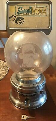 Vintage Ford Gum Ball Machine Sweet Tart Gumball Countertop Chrome with Key