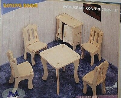 Wood DIY Doll House Furniture Dining Room P011 Wooden Furniture Woodcraft NEW