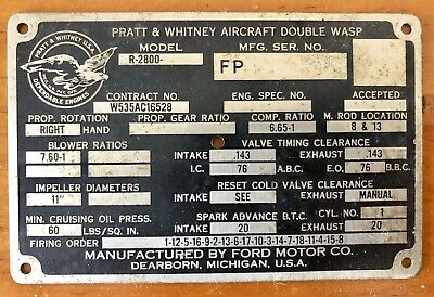 Data Plate Pratt & Whitney Double Wasp R2800 Airplane