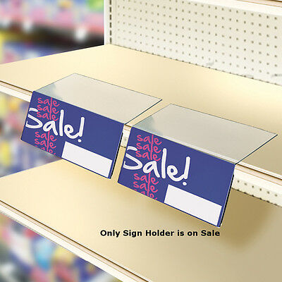 Acrylic Shelf Sign Holder in Clear 6W x 4H x 8D Inches - Box of 10