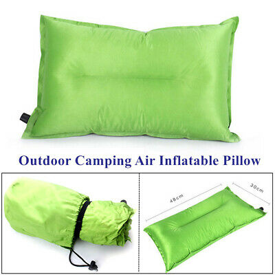 1x Folding Outdoor Camping Hiking Air Inflatable Pillow Flocking Travel Cushion