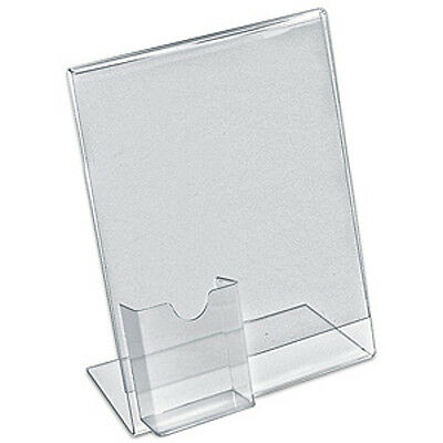 Acrylic Clear L Shaped Sign Holder 11H x 8.5W Inches with Pocket - Pack of 10