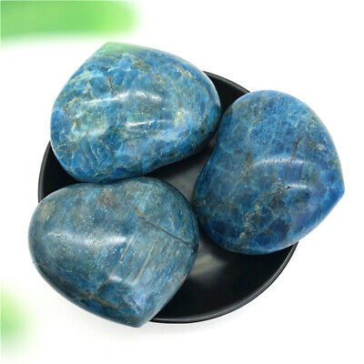 1PC Natural Blue APATITE HEART Polished Palm Stone Healing Reiki Madagascar