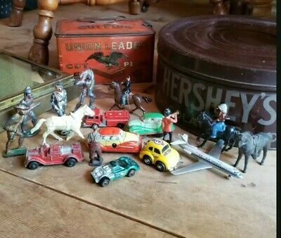 Lot Antique Vintage Car Figurine Indian Native American Cast Iron 20s 50s 80s