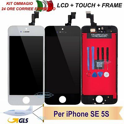 Schermo Display Per Apple Iphone Se 5S Touch Screen Lcd Retina Vetro Nero Bianco