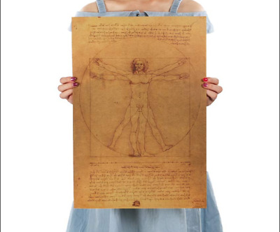 Leonardo Da Vinci Manuscript Vitruvian Man Poster Nostalgic Decorative Paintings