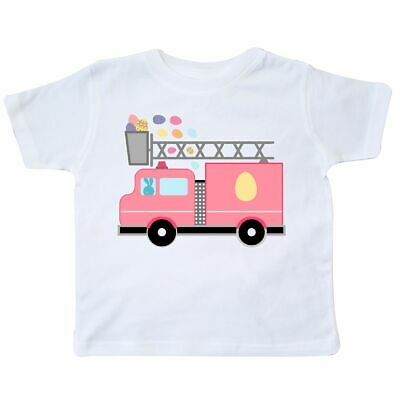 e4f9152b01b5 Inktastic Easter Fire Truck Egg Hunt Bunny Toddler T-Shirt Kids Silhouette  Happy