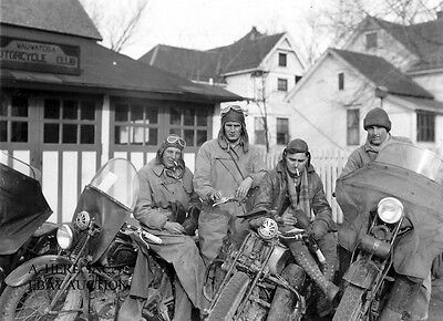 Indian Scout 1930s motorcycle group Harley Davidson JD Model photo photograph