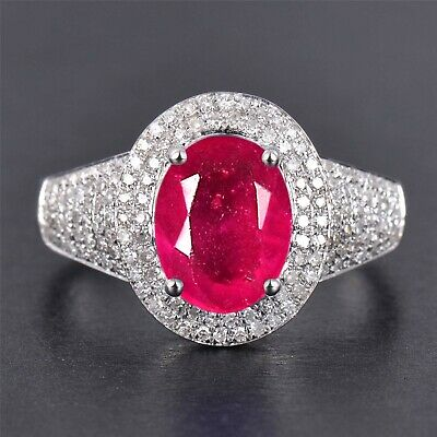 Real 14KT White Gold 2.65Ct Natural Burmese Ruby EGL Certified Diamond Ring