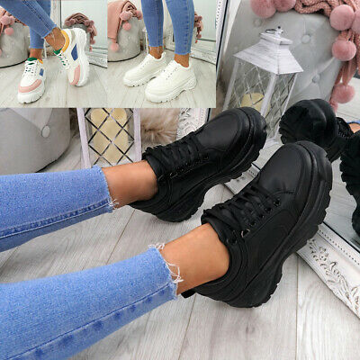 Womens Ladies Chunky Trainers Lace Up Plimsolls Sneakers Party Shoes Size