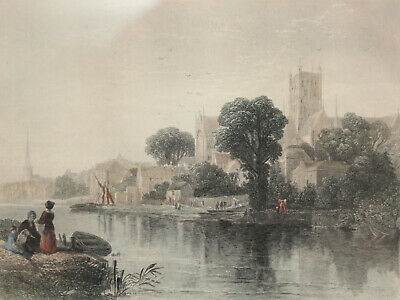 A Fine c19th Line Engraving of Worcester Cathedral