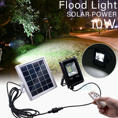 10W Waterproof Solar Powered LED Flood Light Outdoor Garden Landscape Spot Lamp