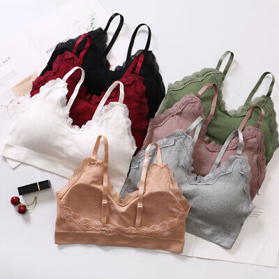 Womens Sexy Lace Bras Casual Pure Color Bralette Wire Free Strap Seamless BEB