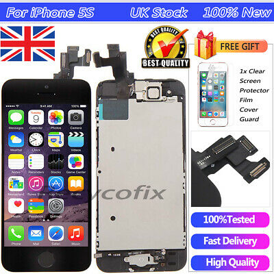 For iPhone 5S Black Screen Replacement Touch Digitizer LCD Display Button Camera